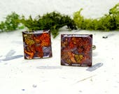 Pressed Flower cufflinks, leaf cuff-links, Nature cufflinks, Fathers Day Gift, Gifts for Him, square cufflinks, botanical gifts, anniversary