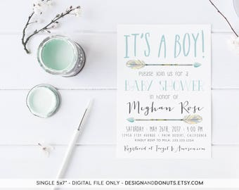Boy Baby Shower Invitation, Printable, Blue, Arrow Baby Shower Invites [100bn]