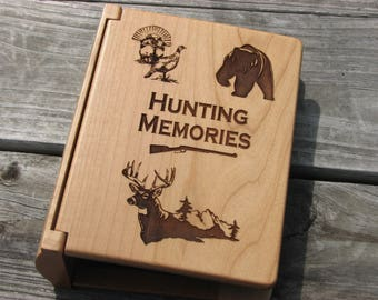 Laser Engraved Wood Photo Album - Hunting Memories Album -  Hunters Gift Idea - Engraved Gift for Hunter