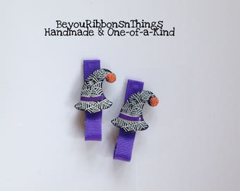 Witch Hat | Hair Clips for Girls | Toddler Barrette | Kids Hair Accessories | Purple Grosgrain Ribbon | No Slip Grip | Halloween