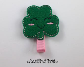 Lucky Girl | Shamrock | Hair Clip for Girls | Toddler Barrette | Kids Hair Accessories | Pink Grosgrain Ribbon | Felties | No Slip Grip