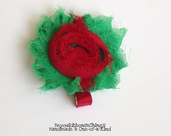 "Red Green | Big Shabby Flower 2.5"" | Hair Clips for Girls | Toddler Barrette | Kids Hair Accessories | Grosgrain Ribbon | No Slip Grip"