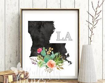 Louisiana state map art, Louisiana state poster, Louisiana silhouette flower print, Louisiana wall art printable, Louisiana state decor sign