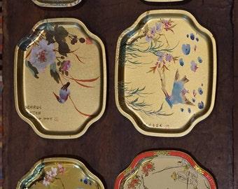 Set of 6 Elite Tin Snack  Trays/ Asian Design/ Made in England/ Wedding Decor