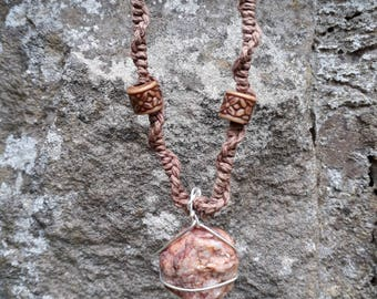 Macrame Wire Wrapped Natural Raw Red Quartz Stone Necklace
