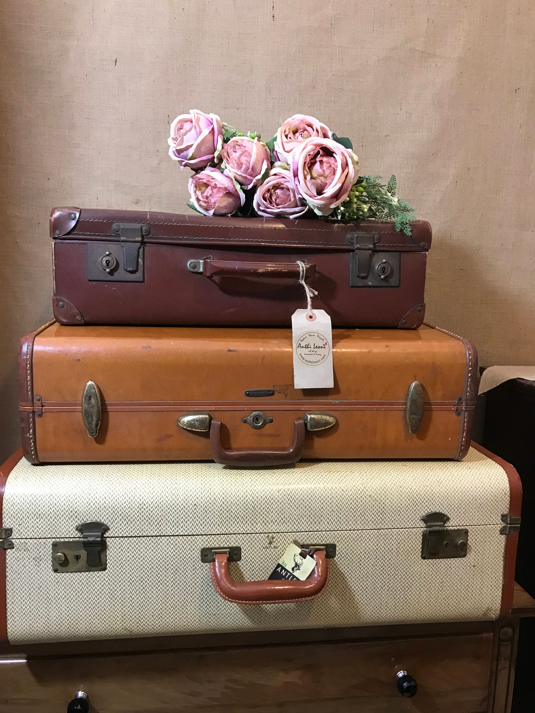 Vintage Designer Stacking Suitcases | Vintage LUGGAGE | Vintage Home Decor  | Vintage TRUNKS | Interior Design | Vintage Tan Cases
