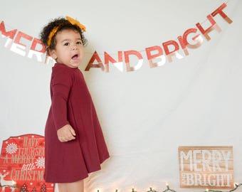 Maroon Dress Tunic Dress Baby Girl Dress Baby Dress  Girl Dress Toddler Dress  Baby Dress Long Sleeve Dress Little Girl