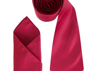 Mens Burgundy Luxury Satin Neck Tie with matching Pocket Square