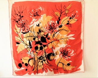 Vintage Silk Scarf, Abstract Floral Scarf, Printed Scarf, Francoise Scarf