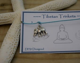 Cord anklet - Tie anklet - Charm anklet - Dainty anklet - Buddha anklet - Tibetan anklet - Om anklet - beach anklet- Elephant anklet