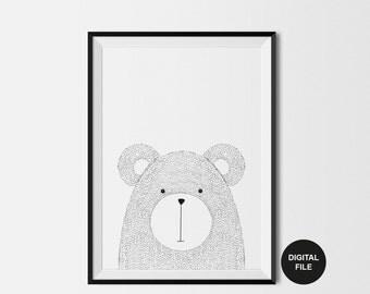 Bear Illustration Scandi Children's Art Print Digital Download,Printable Poster Black & White Bear Nursery Wall woodland Modern Kids Print