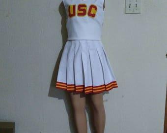 Trojans Song Girls Stripes White Cheerleader Uniform Football Game Halloween Costume Top & Skirt
