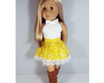 18 inch doll clothes - yellow floral skirt with lace hem