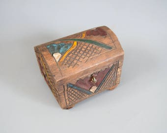 Hand Carved Wood Mexican Jewelry Box Trinket Box Treasure Box