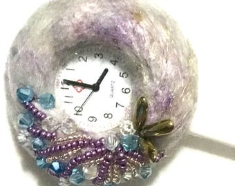 Crystal Beaded And Felted Brooch, Felted and Beaded Nurses Watch, Unique Watch Brooch, Great Christmas Gift, Free local Shipping