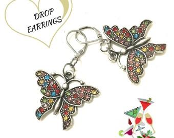 Colourful Butterfly Earrings, Multi Coloured Rhinestone Earrings, On Trend Gift, Party Earrings, Girlfriend Gift, Earrings Silver
