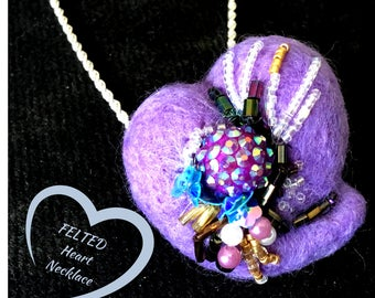 This Lilac Heart Pendant, Needle Felted Heart Necklace, Versatile as a Felted Brooch, Beaded Heart Brooch, Felted Heart Pendant Gift