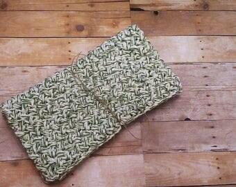 Green White Stripe Washcloth Set, Crochet Cotton Washcloths, Springtime Dishcloth Set, Cleaning Cloths Housewarming Gift, Bridal Shower Gift