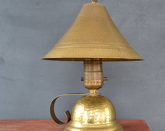 Vintage Arts And Crafts Table Lamp | Craftsman Hammered Brass Electric Table  Lamp