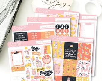 Vertical Kit - Pink Lemonade Planner Sticker Kit - Lemonade Summer 6 Sheet Sticker Kit - Hand Drawn Vertical Planner Sticker Kit LMKV