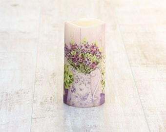 Lavender Flower Pillar Candle, Lavender LED Flameless Candle, Decorative Lavender Candle, Mothers Day Gift For Her, Lavender Home Decor