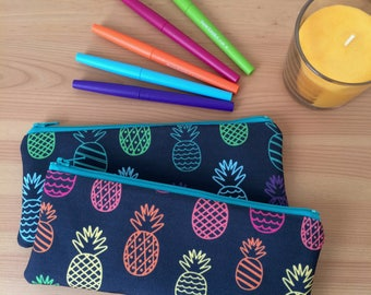 Rainbow Pineapples Pencil Case, Small Tropical Zipper Pouch, Colorful Pencil Case, School Supply Organizer, Back To School