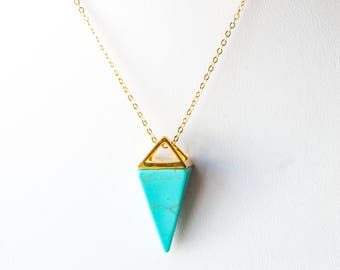 Turquoise Triangle Necklace,Turquoise Pendant Necklace,Turquoise Necklace,Geometric Jewelry,Gold Triangle Necklace,Howlite Pendant Necklace
