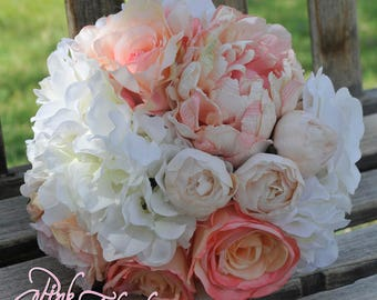 shabby chic silk bridal bouquet in blush pink white and ivory