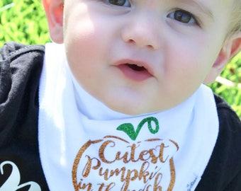 Cutest Pumpkin in the Patch Bib Bandana Handkerchief Halloween Fall Thanksgiving White Orange Baby Girl Boy Toddler Teething Teether Drool