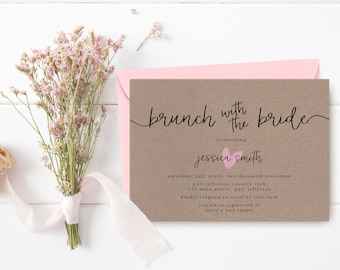 Rustic Bridal Shower Invitation Printable, Brown Paper Bridal Shower Invite, Rustic Bridal Brunch, Kraft Brunch with the Bride Invitation