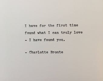 Charlotte Bronte love quote hand typed on antique typewriter gift girlfriend boyfriend husband wife wedding birthday valentines scrapbooking