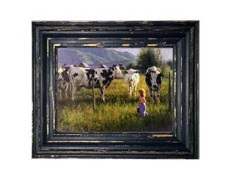 22x18 Robert Duncan Canvas Art Anniken & The Cows by Robert Duncan, Wide Black Frame or Weathered Blue Wood Frame, Framed Canvas Art