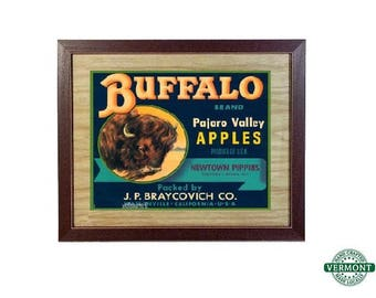 22x18 Vintage Fruit Crate Label Art Print, Buffalo Pajaro Valley Apples California USA, Framed, Retro Advertising, Fruit Vegetables Ad Art