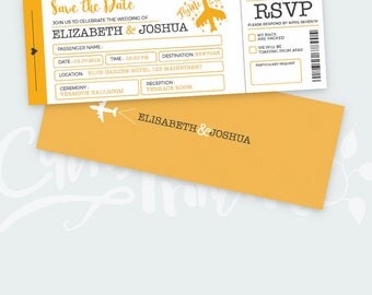 Travel Wedding Invitation Set - Boarding Pass Wedding Invitations - Plane Ticket Invitations - PSD file - Instant Download