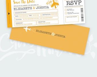 Travel Wedding Invitation Set - Boarding Pass Wedding Invitations - Plane Ticket Invitations - PSD file - Instant Download