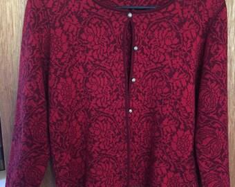 Vintage 90's Oleana Red Floral Cardigan