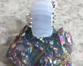 Blue Lace Agate Ring Size 8 1/2