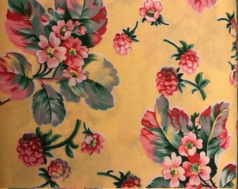 Pink and Red Flowers on Bright Yellow Background, Fruta Y Flor by Verna Mosqura for Free Spirit, 100% Cotton