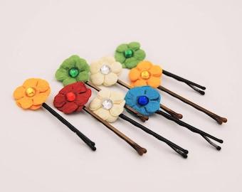 Flower hair pin, flowergirl hair pin, small flower bobby pin, decorative bobby pins, flower hair clip, floral bobby pin, decorative hair pin