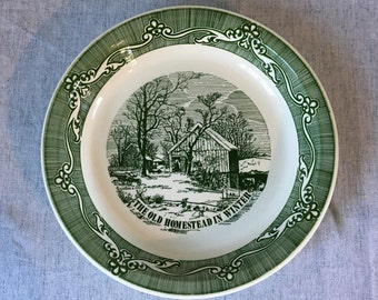 Vintage Royal China Currier And Ives Pie Plate, The Old Homestead In Winter, Green Transfer Ware Currier and Ives