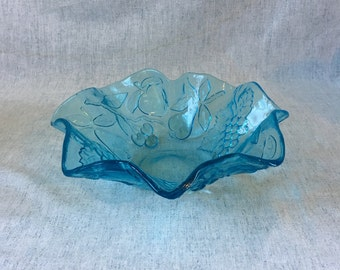Vintage Ice Blue Ruffled Rim Glass Fruit Bowl
