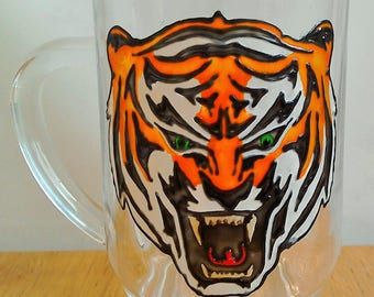 Tiger Tankard; Pint Glass Tankard; Hand Painted Beer Tankard; Roaring Tiger Glass; Solid Glass Tankard; Gifts for Him; Snarling Tiger;