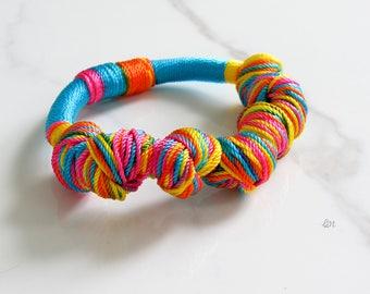 Fiesta Rope Bracelet, Braided Bracelet, Statement Bracelet, Woven Bracelet, Thread Bracelet, Boho Bracelet, Handmade