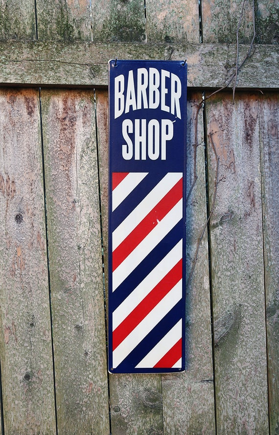 """Barber Shop Tin-Vintage Style Metal sign-Vertical Pole Sign-20"""" by 5"""" Memorabilia sign-Haircut Sign-Vintage tin sign-Steampunk Tin sign"""
