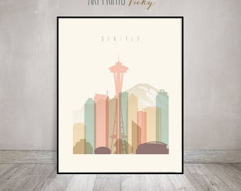 Seattle print, Seattle poster, Wall art, Seattle skyline, cityscape, City poster, Typography art, Home Decor, Digital Print ArtPrintsVicky
