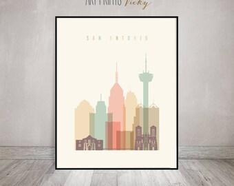 San Antonio Texas Art Print Skyline Poster Pastel by ArtPrintsVicky.com