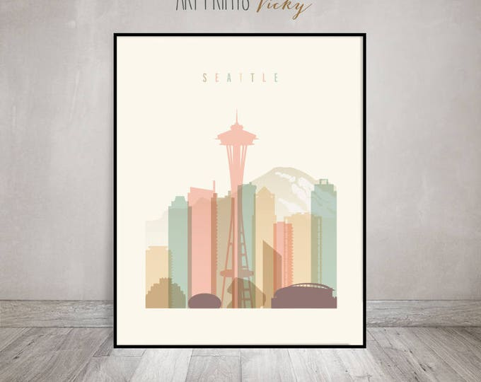 Seattle print, Seattle poster, Wall art, Seattle skyline, cityscape, City poster, Typography art, Home Decor, Digital Print ArtPrintsVicky