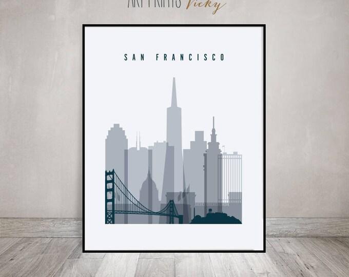 San Francisco skyine art, print, San Francisco Poster, Travel Gift, Wall art, California, City print, Wall Decor, Home decor, ArtPrintsVicky