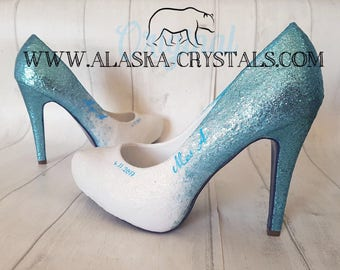 Glitter Heels, Personalised Shoes, Wedding Heels, bridal Shoes, Prom Heels, Quinceañera Heels, Ombre Glitter,