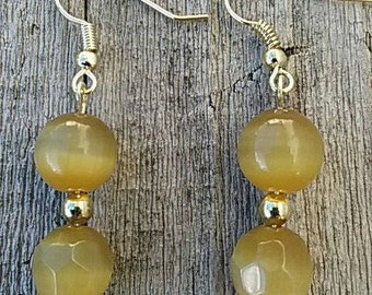 Golden Cats Eye Stone Earrings